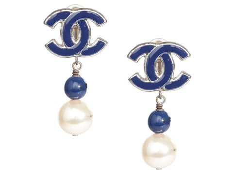 Chanel Silver-Tone, Navy Enamel, and Pearl Clip-On Drop Earrings