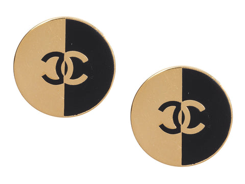 Chanel Vintage Gold-Tone and Black Disc Clip Earrings