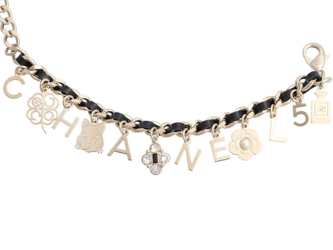 Chanel Gold-Tone Chain and Black Leather Charm Bracelet
