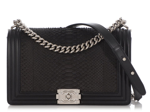 Chanel New Medium Black Python Boy