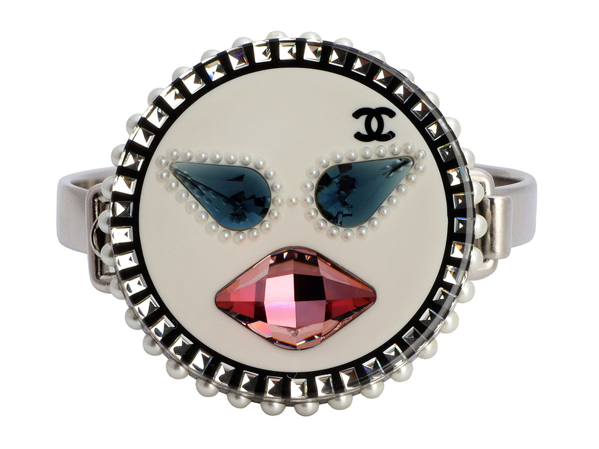 Chanel Silver-Tone Crystal, Resin, and Pearl Emoji Face Bracelet