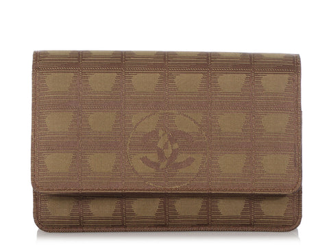 Chanel Khaki Travel Ligne Wallet on a Chain WOC