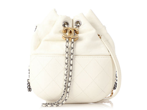 Chanel Mini White Part-Quilted Calfskin Gabrielle Drawstring Bag