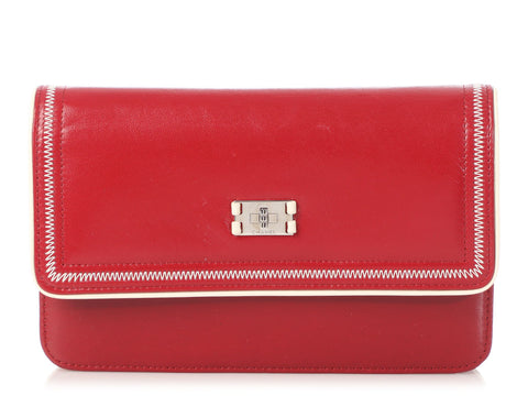 Chanel Red Distressed Leather Wallet on a Chain WOC