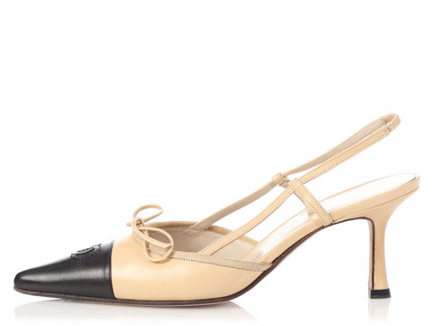 Chanel Beige and Black Slingbacks