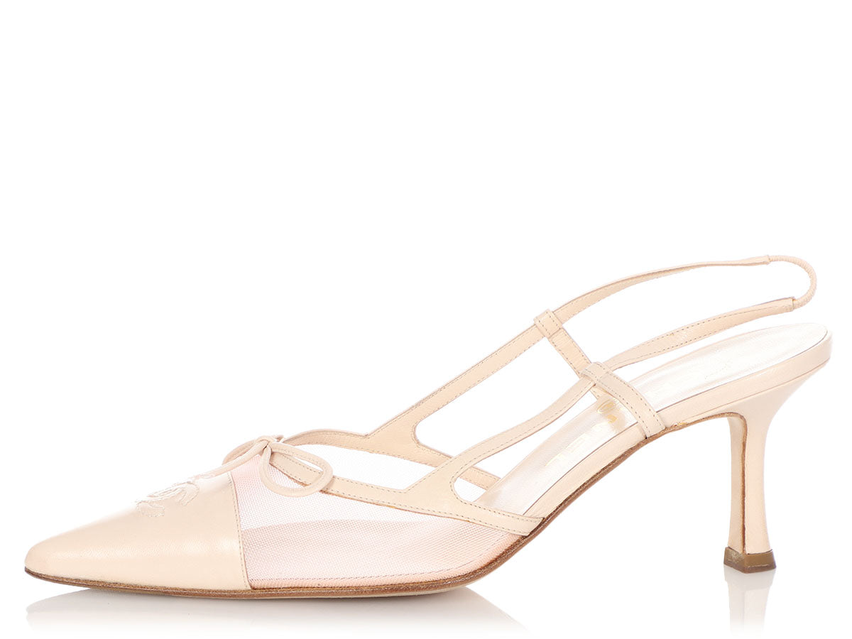 Chanel Light Pink Mesh Slingbacks