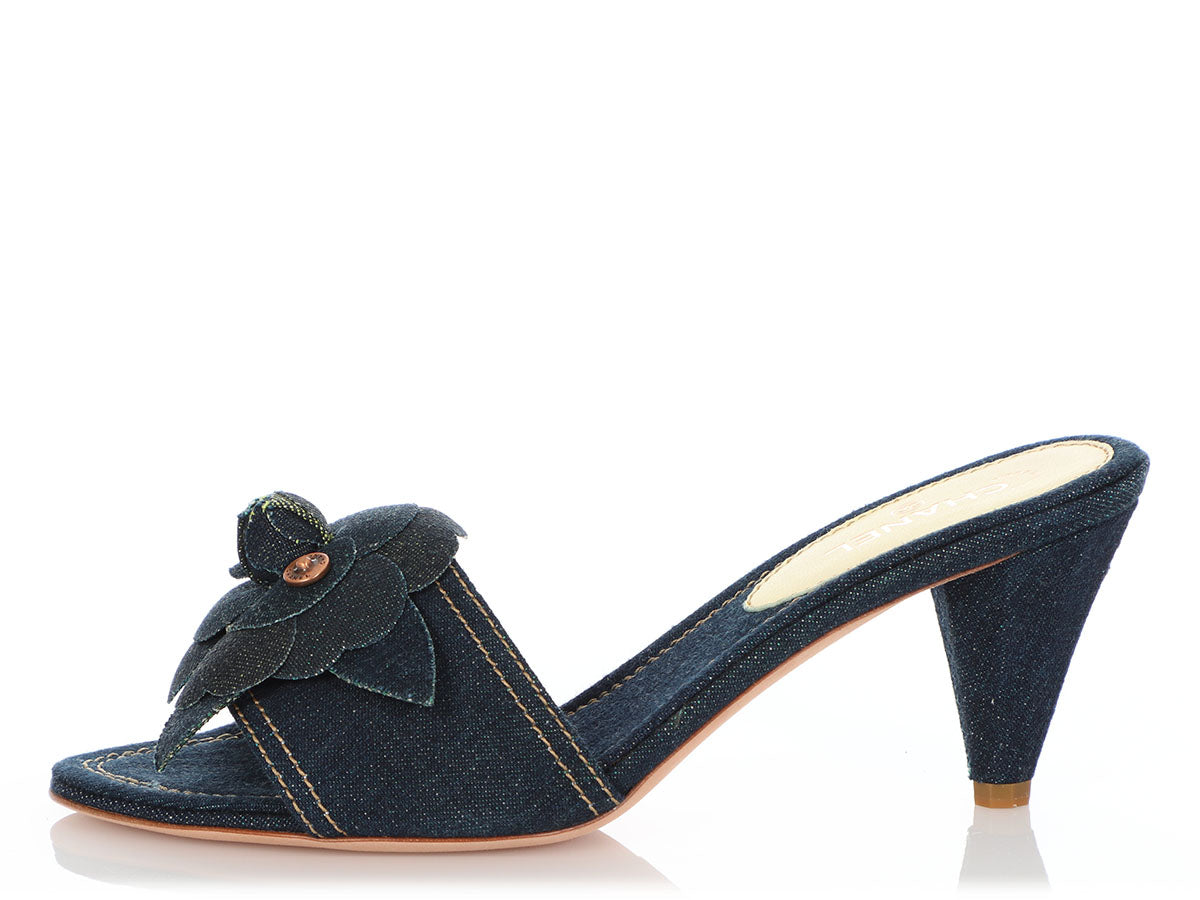 Chanel Denim Camellia Flower Mules