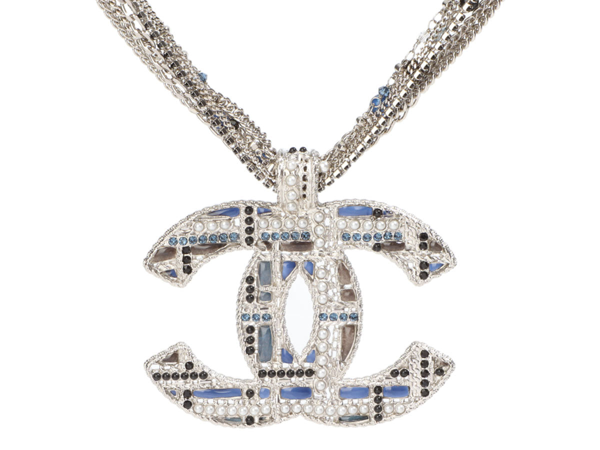 Chanel Extra Large Silver-Tone Multichain Logo Pendant Necklace