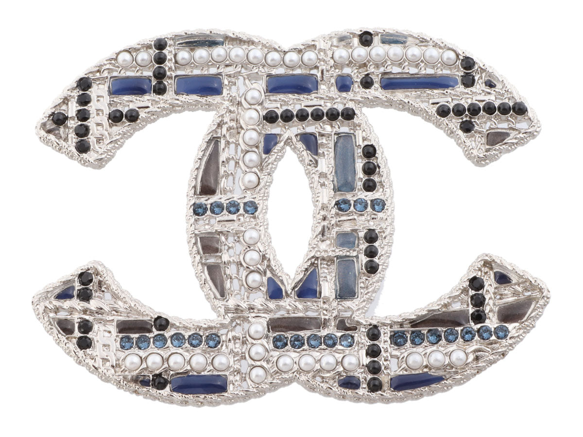 Chanel Extra Large Silver-Tone Enamel, Crystals, and Pearls Logo Brooch