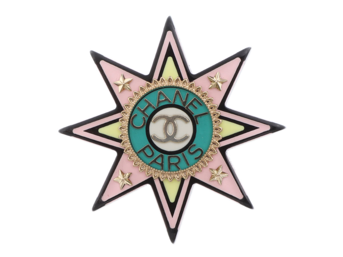 Chanel Gold-Tone Multicolored Resin Star Logo Brooch