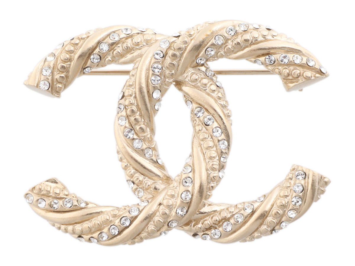 Chanel Large Gold-Tone Crystal Twist Logo Brooch