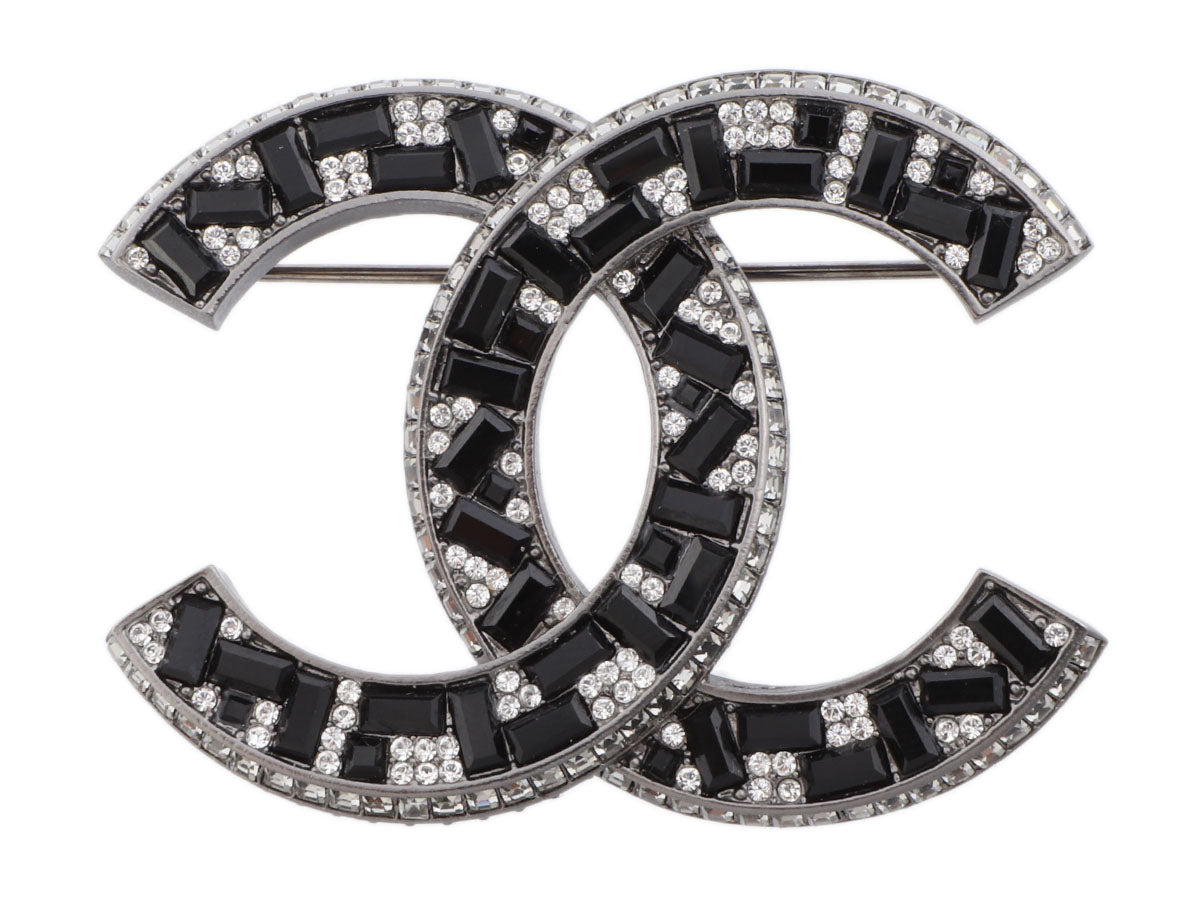 Chanel Large Silver-Tone Black and White Crystal Logo Brooch