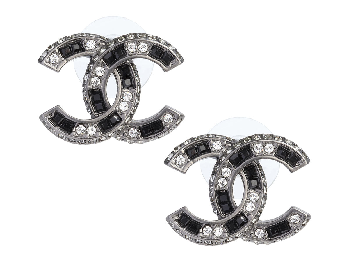 Chanel Silver-Tone Black and White Crystal Logo Pierced Earrings