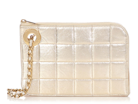 Chanel Gold Quilted Distressed Calfskin Wristlet