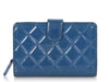 Chanel Blue Quilted Patent Wallet