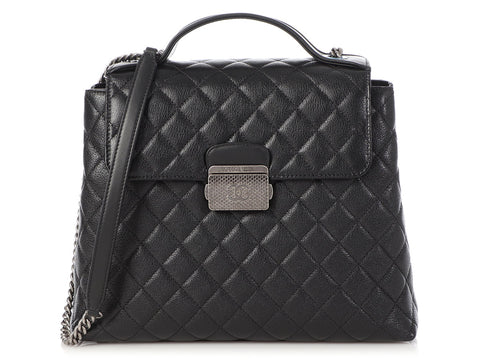 Chanel Large Black Quilted Goatskin CC University Top Handle Flap