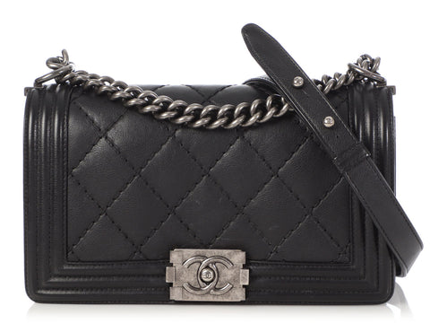Chanel Old Medium Black Quilted Calfskin Boy
