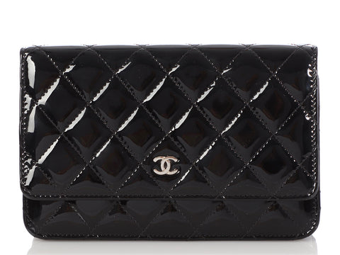 Chanel Black Quilted Patent Wallet on a Chain WOC
