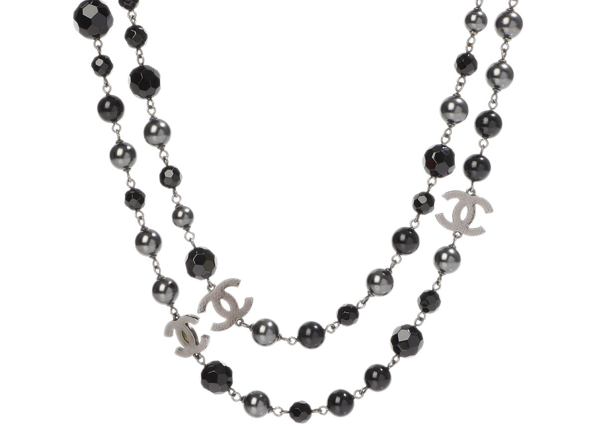 Chanel Long Black Bead and Black Pearl Logo Necklace