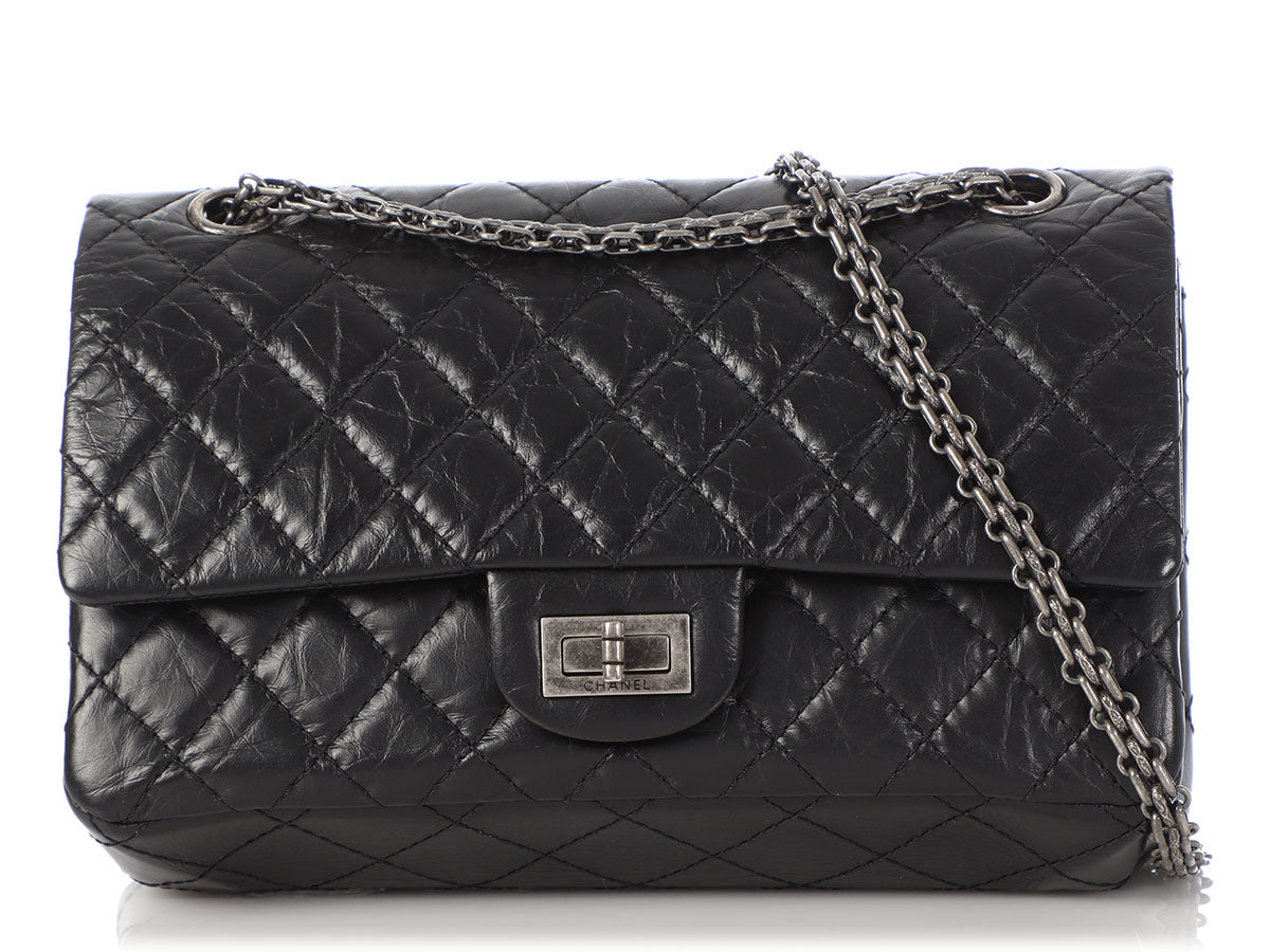 Chanel Black Quilted Distressed Leather Reissue 225