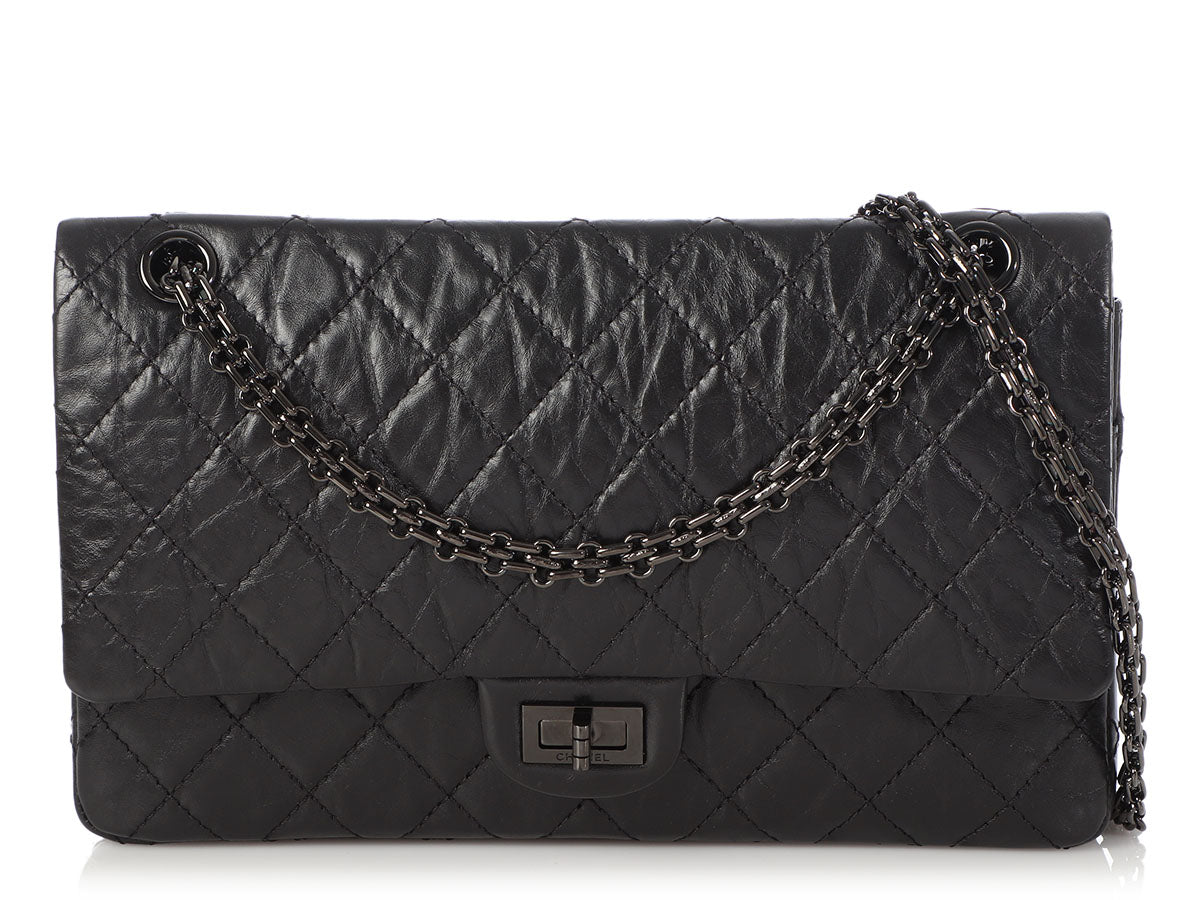 Chanel So Black Quilted Distressed Calfskin Reissue 226