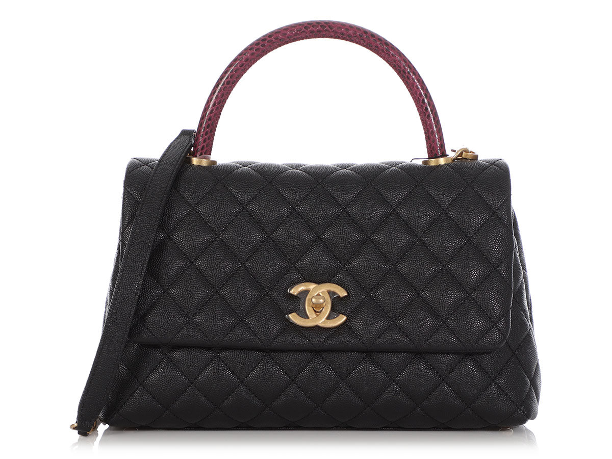 Chanel Small Black Quilted Caviar and Red Lizard Coco Handle