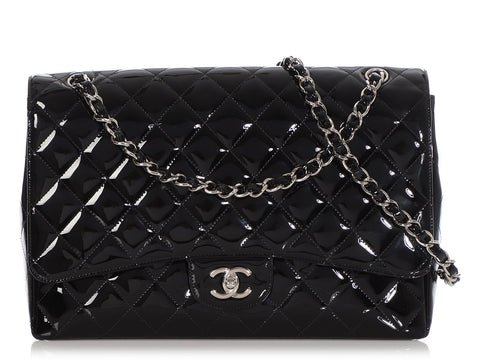 Chanel Maxi Black Quilted Patent Classic Single Flap