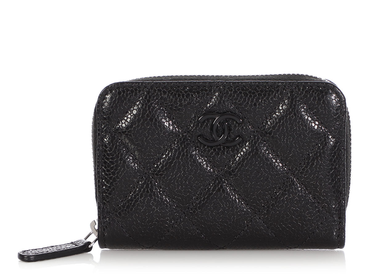Chanel So Black Quilted Shiny Calfskin Incognito Zippered Card Case