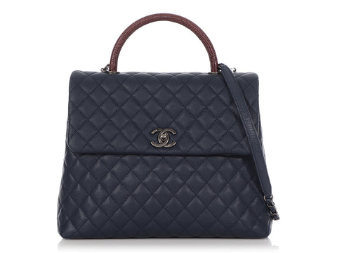Chanel Large Navy Quilted Caviar and Burgundy Lizard Coco Handle