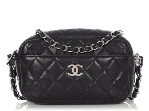 Chanel Mini Black Quilted Lambskin Camera Bag Crossbody