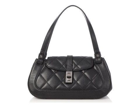 Chanel Small Black Part-Quilted Caviar Hand Bag