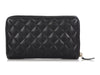 Chanel Black Quilted Caviar Zip Around Wallet