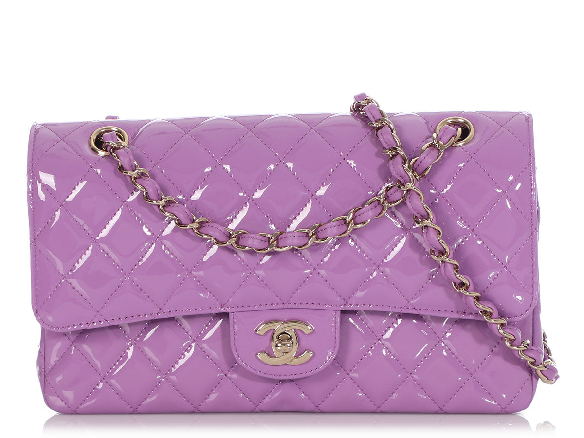 Chanel Medium/Large Lilac Quilted Patent Classic Double Flap