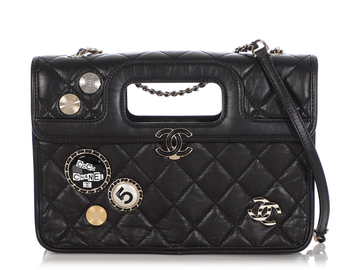 Chanel Black Part-Quilted Aged Calfskin Charm Flap