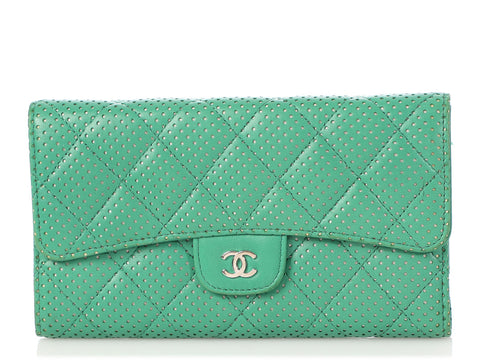 Chanel Green Perforated and Quilted Lambskin Continental Wallet