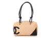 Chanel Beige Part-Quilted Cambon Bowling Bag
