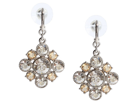 Chanel Silver-Tone Crystal Logo Pierced Drop Earrings
