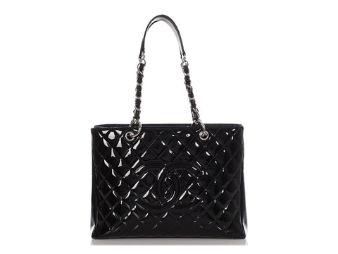 Chanel Black Part-Quilted Patent Grand Shopping Tote GST