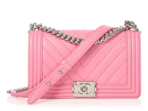 Chanel Old Medium Pink Chevron-Quilted Calfskin Boy