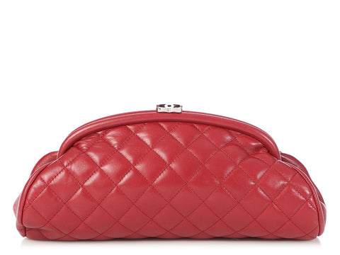 Chanel Rouge Quilted Lambskin Timeless Clutch