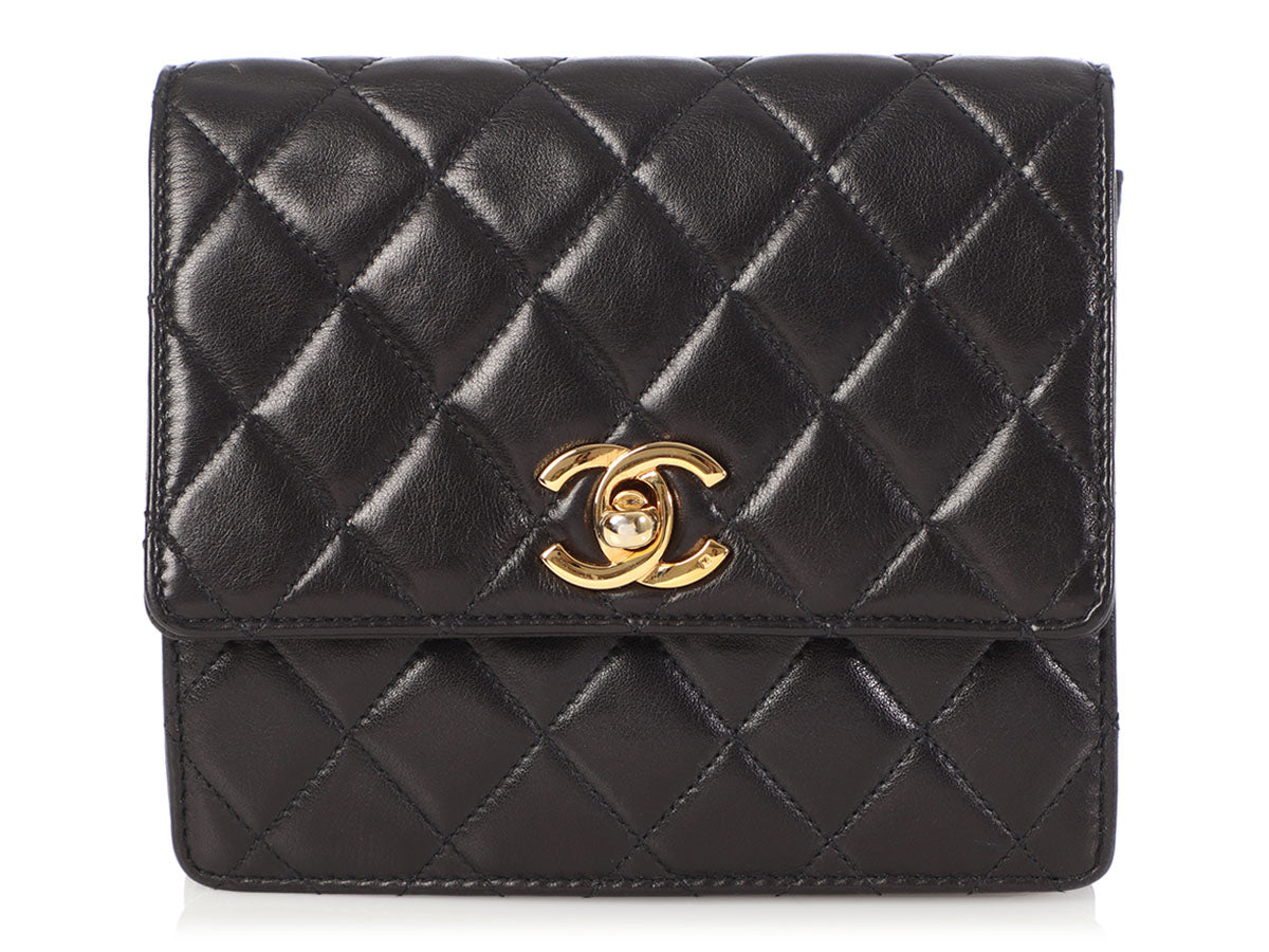 Chanel Vintage Black Quilted Lambskin Waist Bag