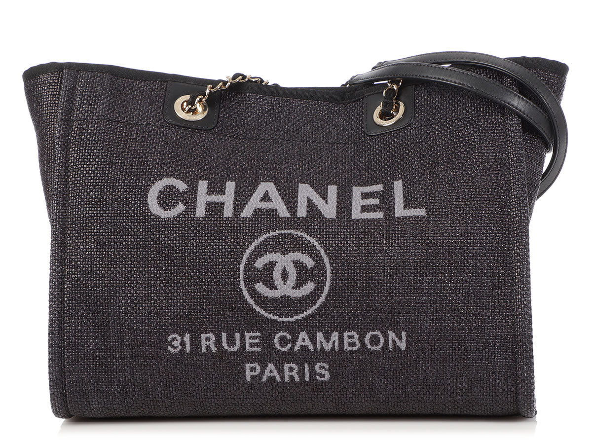 Chanel Large Black Raffia Deauville Tote
