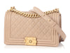 Chanel Old Medium Taupe Quilted Calfskin Boy Bag