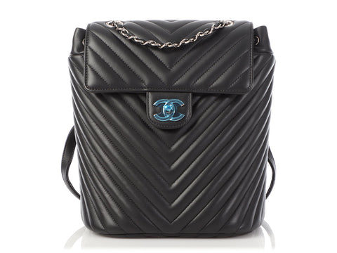Chanel Small Black Chevron-Quilted Calfskin Urban Spirit Backpack