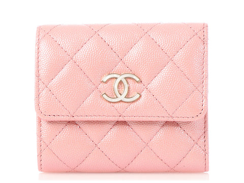 Chanel Small Pearly Pink Quilted Caviar CC Wallet