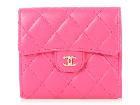 Chanel Pink Quilted Lambskin Classic Compact Wallet