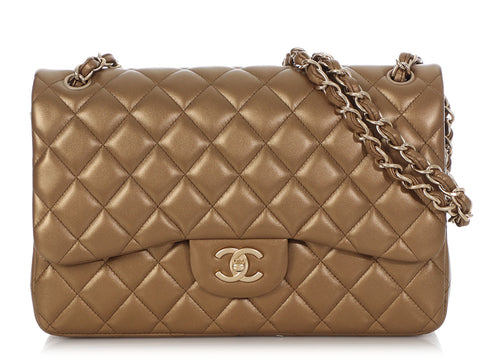 Chanel Jumbo Gold Quilted Lambskin Classic Double Flap