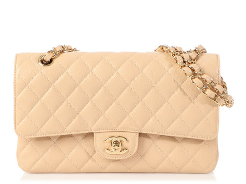 Chanel Medium/Large Beige Clair Quilted Caviar Classic Double Flap