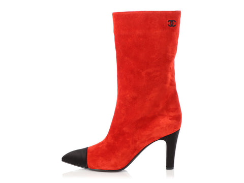 Chanel Bright Red Suede Gabrielle Chanel Boots