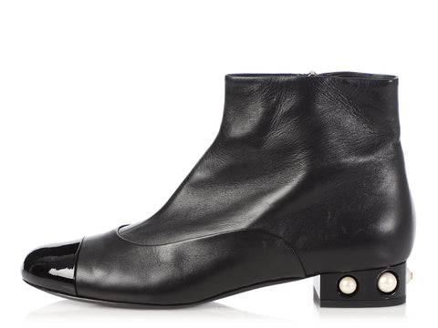 Chanel Black Leather Pearl Heel Booties